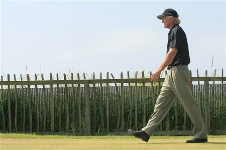 TROON, UNITED KINGDOM - JULY 27: Greg Norman of Australia during the final round of the Senior Open Championship at Royal Troon on July 27, 2008 in Troon, Scotland  (Photo by Phil Inglis/Getty Images)