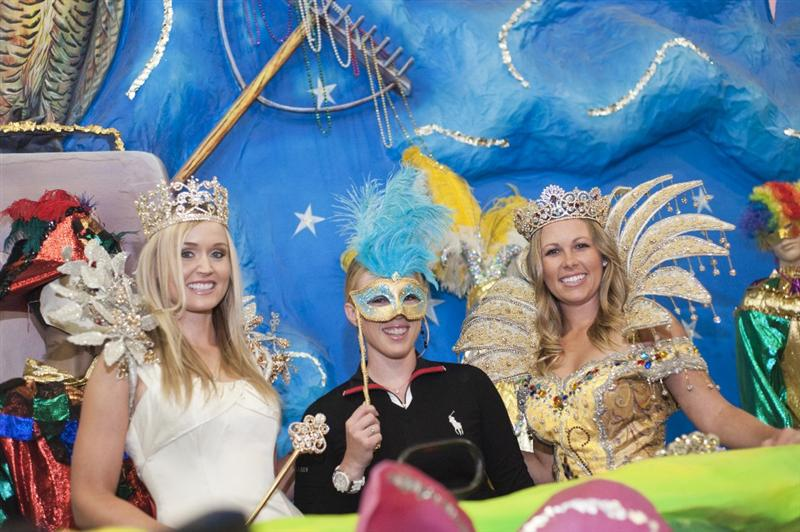 MOBILE, AL - APRIL 26: (L-R) In this handout from the LPGA Blair O'Neal, Morgan Pressel and Sara Brown for Avnet visit the Mobile Carnival Museum on April 26, 2011 in Mobile, Alabama. (Photo by Tad Denson/LPGA via Getty Images)