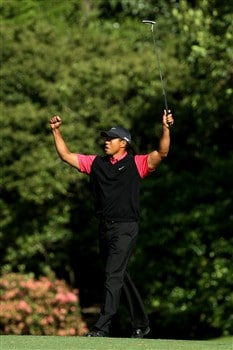 AUGUSTA, GA - APRIL 13:  Tiger Woods celebrates making birdie on the 11th green during the final round of the 2008 Masters Tournament at Augusta National Golf Club on April 13, 2008 in Augusta, Georgia.  (Photo by David Cannon/Getty Images)
