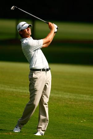 ATLANTA - SEPTEMBER 24:  Sean O'Hair watches his approach shot on the 12th hole during the first round of THE TOUR Championship presented by Coca-Cola, the final event of the PGA TOUR Playoffs for the FedEx Cup, at East Lake Golf Club on September 24, 2009 in Atlanta, Georgia.  (Photo by Scott Halleran/Getty Images)