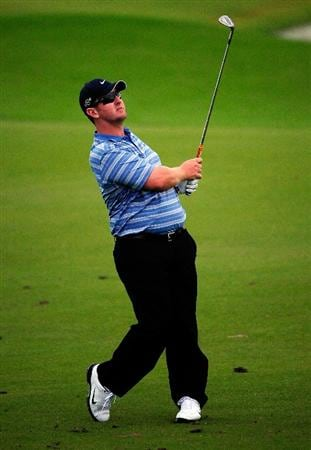 PALM COAST, FL - OCTOBER 31:  David Duval  plays a shot on the 18th hole during the second round of the Ginn sur Mer Classic at the Conservatory Golf Club on October 31, 2008 in Palm Coast, Florida.  (Photo by Sam Greenwood/Getty Images)