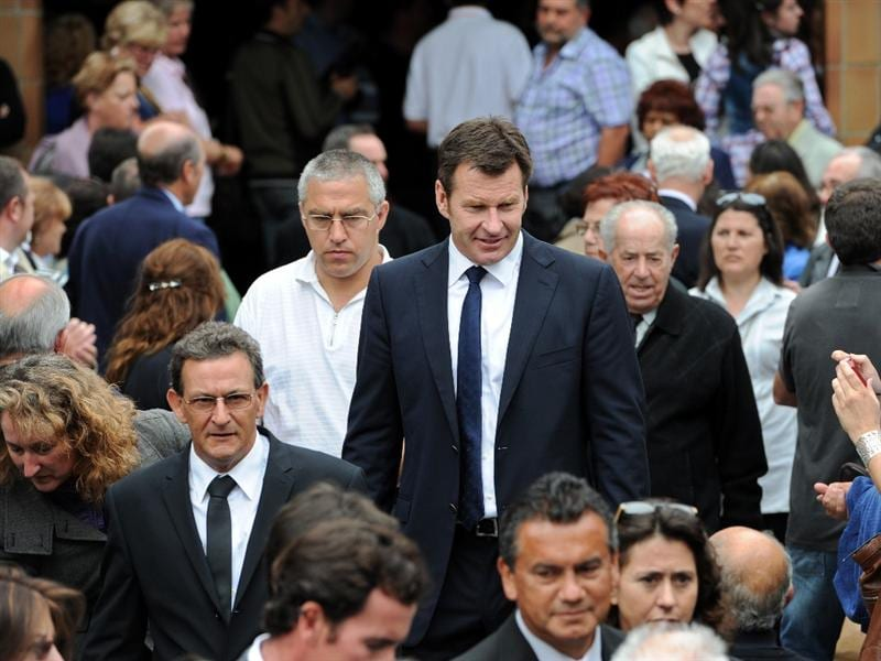 PEDRENA, SPAIN - MAY 11:  Golfer Sir Nick Faldo of England leaves the funeral service held for legendary Spanish golfer Seve Ballesteros on May 11, 2011 in Pedrena, Spain. Top-ranked golf players have joined family members and friends to pay their last respects to the late golf great, who died on May 7, 2011 from complications arising from a brain tumor, in his home town parish church.  (Photo by Jasper Juinen/Getty Images)