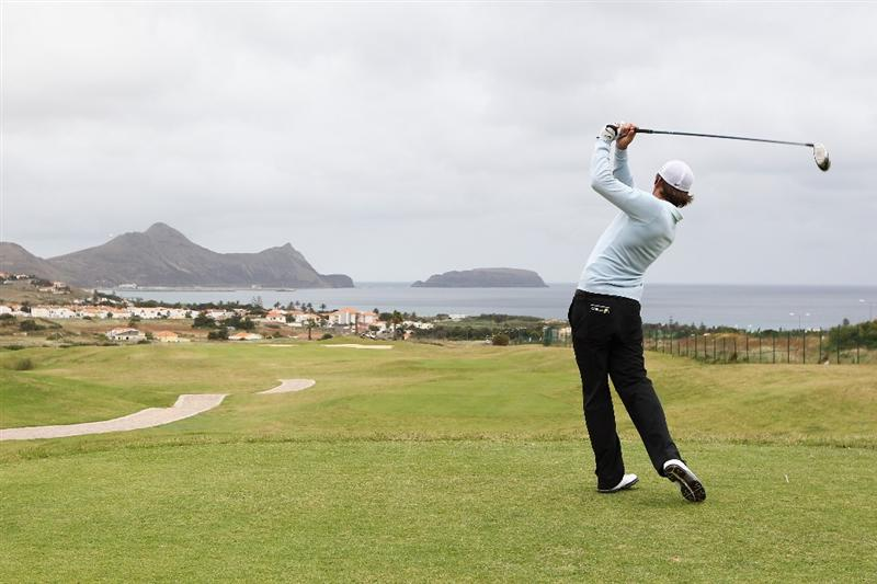 PORTO SANTO ISLAND, PORTUGAL - MAY 20:  Matt Haines of England hits his tee shot on the 4th hole during day two of the Madeira Islands Open on May 20, 2011 in Porto Santo Island, Portugal.  (Photo by Dean Mouhtaropoulos/Getty Images)