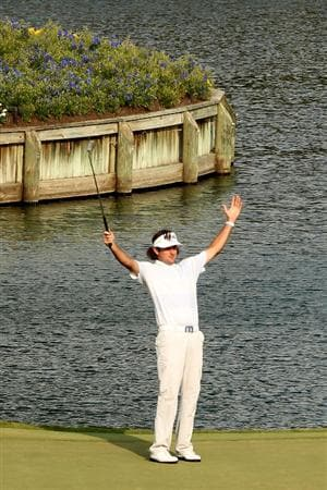 PONTE VEDRA BEACH, FL - MAY 13:  Bubba Watson celebrates chipping in for birdie on the 17th hole during the second round of THE PLAYERS Championship held at THE PLAYERS Stadium course at TPC Sawgrass on May 13, 2011 in Ponte Vedra Beach, Florida.  (Photo by Mike Ehrmann/Getty Images)