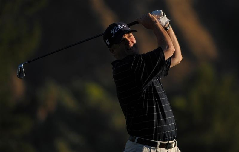 SAN JACINTO, CA - OCTOBER 02: Craig Bowden makes a tee shot during the second round of the 2009 Soboba Classic at The Country Club at Soboba Springs on October 2, 2009 in San Jacinto, California.  (Photo by Robert Laberge/Getty Images)