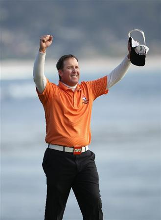 PEBBLE BEACH, CA - FEBRUARY 13:  D.A. Points celebrates after finishing on the 18th hole at the AT&T Pebble Beach National Pro-Am- Final Round at the Pebble Beach Golf Links on February 13, 2011 in Pebble Beach, California.  (Photo by Jed Jacobsohn/Getty Images)