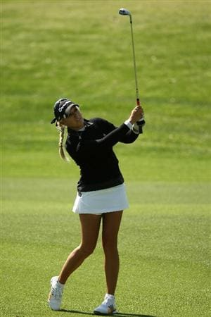 RANCHO MIRAGE, CA - APRIL 2:   Natalie Gulbis hits from the fairway on the 16th hole during the first round of the Kraft Nabisco Championship at Mission Hills Country Club on April 2, 2009 in Rancho Mirage, California.  (Photo by Stephen Dunn/Getty Images)