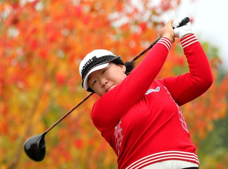 SHIMA, JAPAN - NOVEMBER 09: Ji-Yai Shin of South Korea makes a tee shot on the second hole during the final round of 2008 Mizuno Classic at Kintetsu Kashikojima Country Club on November 9, 2008 in Shima, Mie, Japan. (Photo by Koichi Kamoshida/Getty Images)