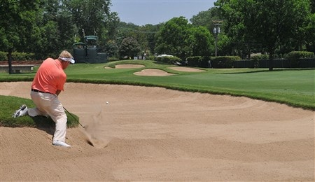 FORT WORTH , TX - MAY 23:  Carl Pettersson  hits a difficult bunker shot on the 15th hole  during the second round of the Crowne Plaza Invitational at Colonial Country Club on May 23, 2008 in Fort Worth, Texas  (Photo by Marc Feldman/Getty Images)