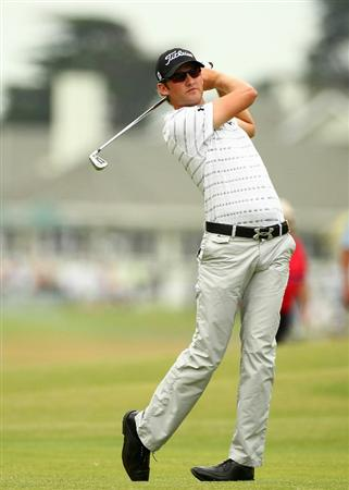 MELBOURNE, AUSTRALIA - NOVEMBER 11:  Michael Sim of Australia his his shot off the fairway during day one of the Australian Masters at The Victoria Golf Club on November 11, 2010 in Melbourne, Australia.  (Photo by Robert Cianflone/Getty Images)