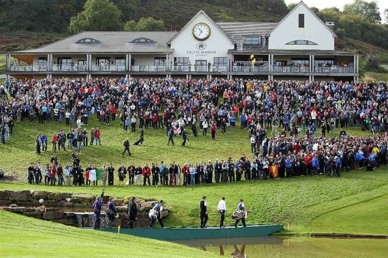 NEWPORT, WALES - OCTOBER 02:  General View as Ian Poulter and Padraig Harrington of Europe walk up the 18th hole  during the rescheduled Morning Fourball Matches during the 2010 Ryder Cup at the Celtic Manor Resort on October 2, 2010 in Newport, Wales. (Photo by Jamie Squire/Getty Images)
