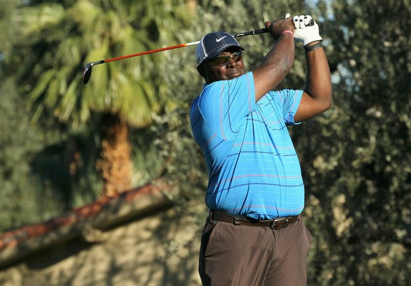 LA QUINTA, CA - JANUARY 20: Former NFL receiver Sterling Sharpe hits his tee shot on the 18th hole during round two of the Bob Hope Classic at the La Quinta Country Club on January 20, 2011 in La Quinta, California. (Photo by Stephen Dunn/Getty Images)