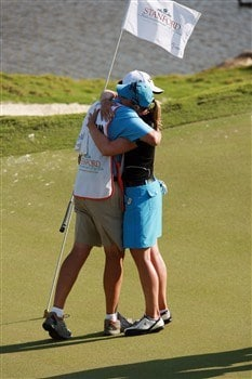 AVENTURA, FL - APRIL 27:  Annika Sorenstam (R) hugs her caddie Terry McNamara after winning the Stanford International Pro-Am at Fairmont Turnberry Isle Resort & Club April 27, 2008 in Aventura, Florida. Sorenstam defeated Paula Creamer in a one hole playoff.  (Photo by Doug Benc/Getty Images)