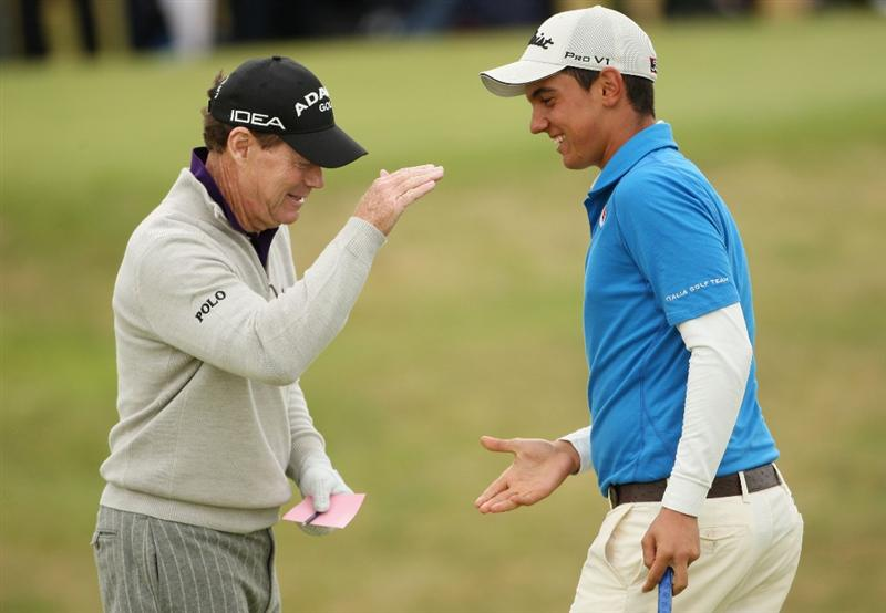 TURNBERRY, SCOTLAND - JULY 17:  Tom Watson of USA celebrates holing a birdie putt with Matteo Manassero (R) (Amateur) of Italy on the 16th green during round two of the 138th Open Championship on the Ailsa Course, Turnberry Golf Club on July 17, 2009 in Turnberry, Scotland.  (Photo by Andrew Redington/Getty Images)