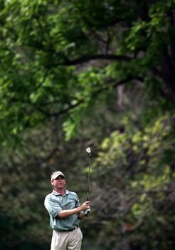 GRAND BLANC, MI - JUNE 26:  Lee Janzen hits out of the fairway on the sixth hole during the first round at the Buick Open at Warwick Hills Country Club on June 26, 2008 in Grand Blanc, Michigan. (photo by Marc Serota/ Getty Images)