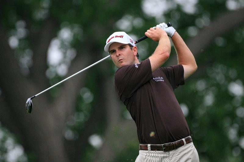FT. WORTH, TX - MAY 19: Kevin Streelman hits his tee shot on the ninth hole during the first round of the Crowne Plaza Invitational at Colonial Country Club on May 19, 2011 in Ft. Worth, Texas. (Photo by Hunter Martin/Getty Images)