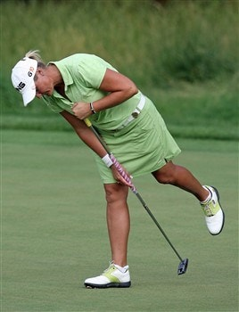 HAVRE DE GRACE, MD - JUNE 08:  Maria Hjorth of Sweden reacts to missed putt on the third playoff hole  of the McDonald's LPGA Championship at Bulle Rock Golf Course on June 8, 2008 in Havre de Grace, Maryland.  (Photo by Andy Lyons/Getty Images)