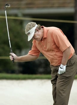 Andy Bean pounds his club after missing a par putt on the first hole during the second round of the 2005 SAS Championship on Saturday, October 1, 2005 at Prestonwood Country Club in Cary, North Carolina.Photo by Grant Halverson/WireImage.com