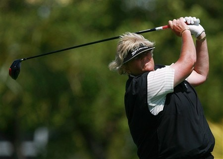 AVENTURA, FL - APRIL 25:  Laura Davies hits her tee shot on the seventh hole during the second round of the Stanford International Pro-Am at Fairmont Turnberry Isle Resort & Club on April 25, 2008 in Aventura, Florida.  (Photo by Doug Benc/Getty Images)