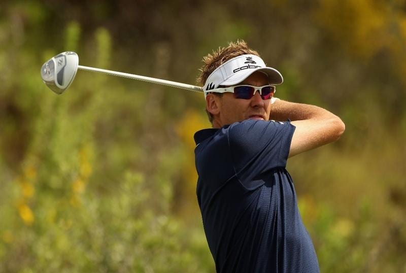 CASARES, SPAIN - MAY 19:  Ian Poulter of England tees off on the third hole during the group stages of the Volvo World Match Play Championships at Finca Cortesin on May 19, 2011 in Casares, Spain.  (Photo by Warren Little/Getty Images)