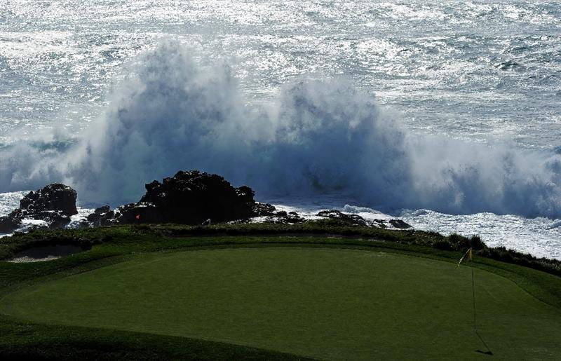 PEBBLE BEACH, CA - FEBRUARY 13:  A general view of the seventh green during the third round of the AT&T Pebble Beach National Pro-Am at Pebble Beach Golf Links on February 13, 2010 in Pebble Beach, California.  (Photo by Stuart Franklin/Getty Images)