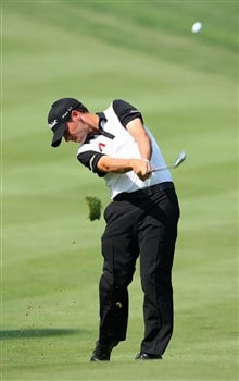AKRON, OH - JULY 29:  Chez Reavie plays an approach shot during practice for the World Golf Championship Bridgestone Invitational at Firestone Country Club July 29, 2008 in Akron, Ohio.  (Photo by Stuart Franklin/Getty Images)