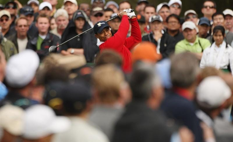 SAN FRANCISCO - OCTOBER 08:  Tiger Woods of the USA Team tees off on the third hole during the Day One Foursome Matches of The Presidents Cup at Harding Park Golf Course on October 8, 2009 in San Francisco, California.  (Photo by Warren Little/Getty Images)