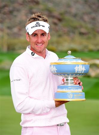 MARANA, AZ - FEBRUARY 21:  Ian Poulter of England holds the trophy after winning the Accenture Match Play Championship at the Ritz-Carlton Golf Club at  on February 21, 2010 in Marana, Arizona.  (Photo by Stuart Franklin/Getty Images)