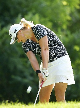 NEW ROCHELLE, NY - JULY 20: Maria Hjorth of Sweden hits her tee shot on the 4th hole during the second round of the HSBC Women's World Match Play at Wykagyl Country Club on July 20, 2007 in New Rochelle, New York. (Photo by Sam Greenwood/Getty Images)
