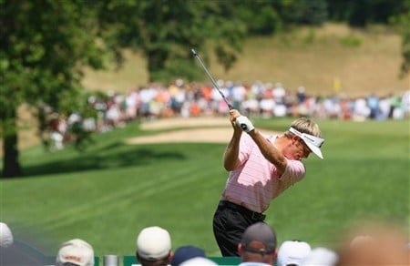 AKRON, OH - AUGUST 03:  Stuart Appleby of Australia plays his tee shot on the fifth hole during final round of the World Golf Championship Bridgestone Invitational on August 3, 2008 at Firestone Country Club in Akron, Ohio.  (Photo by Stuart Franklin/Getty Images)