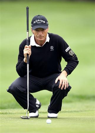 SAN FRANCISCO - NOVEMBER 07:  Bernhard Langer of Germany lines up a putt on the 1st hole during the final round of the Charles Schwab Cup Championship at Harding Park Golf Course on November 7, 2010 in San Francisco, California.  (Photo by Ezra Shaw/Getty Images)