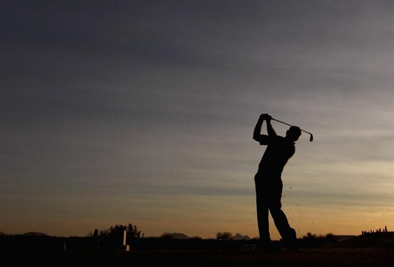 SCOTTSDALE, AZ - FEBRUARY 06:  Mark Wilson hits a tee shot on the 12th hole during the final round of the Waste Management Phoenix Open at TPC Scottsdale on February 6, 2011 in Scottsdale, Arizona.  (Photo by Christian Petersen/Getty Images)