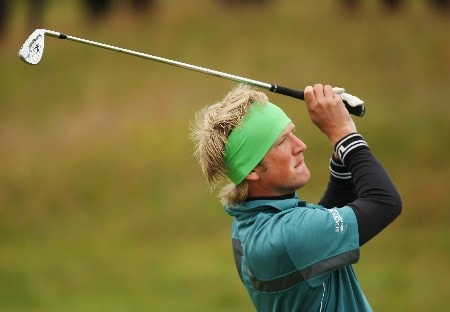 CARNOUSTIE, UNITED KINGDOM - JULY 19:  Pelle Edberg of Sweden hits a shot on the second hole during the first round of The 136th Open Championship at the Carnoustie Golf Club on July 19, 2007 in Carnoustie, Scotland.  (Photo by Ross Kinnaird/Getty Images)