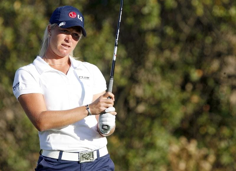 DANVILLE, CA - OCTOBER 9: Suzann Pettersen of Norway makes a tee shot on the 17th hole during the first round of the LPGA Longs Drugs Challenge at the Blackhawk Country Club October 9, 2008 in Danville, California. (Photo by Max Morse/Getty Images)