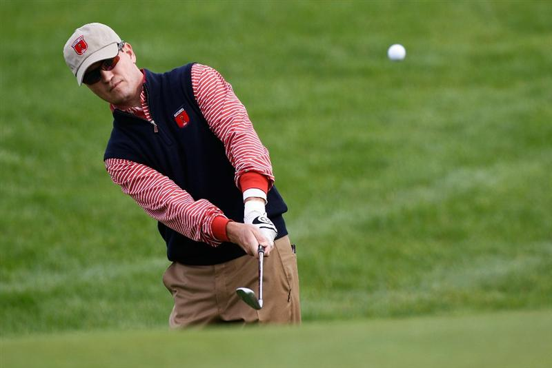 NEWPORT, WALES - SEPTEMBER 30:  Zach Johnson of the USA chips during a practice round prior to the 2010 Ryder Cup at the Celtic Manor Resort on September 30, 2010 in Newport, Wales. (Photo by Sam Greenwood/Getty Images)