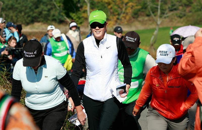 INCHEON, SOUTH KOREA - OCTOBER 29:  (L to R) Cristie Kerr and Michelle Wie of United States, Shin Ji-Yai of South Korea on the 5th hole during the 2010 LPGA Hana Bank Championship at Sky 72 golf club on October 29, 2010 in Incheon, South Korea.  (Photo by Chung Sung-Jun/Getty Images)