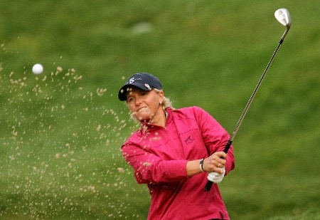 HUIXQUILUCAN, MEXICO - MARCH 12:  Becky Morgan of Wales plays a bunker shot on the second hole during completion of the final round of the MasterCard Classic at Bosque Real Country Club on March 12, 2007 in Huixquilucan, Mexico. (Photo by Scott Halleran/Getty Images)