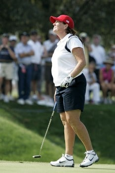 Meg Mallon during the Sunday singles matches at the Solheim Cup at Crooked Stick Golf Club in Carmel, Indiana on September 11, 2005.Photo by Michael Cohen/WireImage.com
