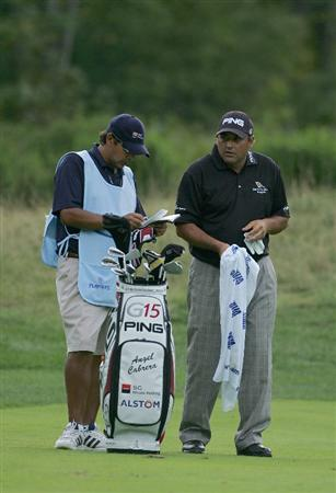 NORTON, MA - SEPTEMBER 05:  Angel Cabrera of Argentina stands by his bag during the second round of the Deutsche Bank Championship at TPC Boston held on September 5, 2009 in Norton, Massachusetts.  (Photo by Michael Cohen/Getty Images)
