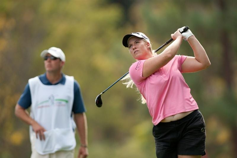 DANVILLE, CA - OCTOBER 14: Brittany Lincicome follows through on a tee shot during the first round of the CVS/Pharmacy LPGA Challenge at Blackhawk Country Club on October 14, 2010 in Danville, California. (Photo by Darren Carroll/Getty Images)