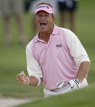 Dana Quigley reacts to his sand shot on 18 on the first of two playoff holes, during the final round of the 2005 JELD-WEN Tradition at The Reserve Vineyards and Golf Club, Sunday,  August 28, 2005.Photo by Allan Campbell/WireImage.com