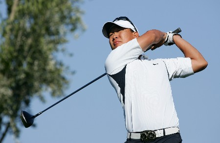 PALM DESERT, CA - JANUARY 20:  Anthony Kim makes a tee shot on the second hole during the final round of the 49th Bob Hope Chrysler Classic on January 20, 2008 at the Classic Club in Palm Desert, California.  (Photo by Robert Laberge/Getty Images)