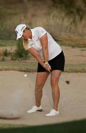 PHOENIX, AZ - MARCH 19:  Brittany Lincicome hits out of a bunker on the 15th hole during the second round of the RR Donnelley LPGA Founders Cup at Wildfire Golf Club on March 19, 2011 in Phoenix, Arizona.  (Photo by Stephen Dunn/Getty Images)