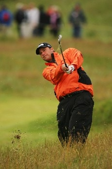 CARNOUSTIE, UNITED KINGDOM - JULY 21:  Chris DiMarco of the USA hits his approach shot on the second hole during the third round of The 136th Open Championship at the Carnoustie Golf Club on July 21, 2007 in Carnoustie, Scotland.  (Photo by Warren Little/Getty Images)