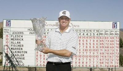 Steve Flesch was presented the winner's trophy after the fourth and final round of the Reno Tahoe Open held on August 5, 2007 at Montreux Golf and Country Club in Reno, Nevada. PGA TOUR - 2007 Reno Tahoe Open - Final RoundPhoto by S. Badz/WireImage.com
