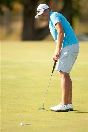 PRATTVILLE, AL - OCTOBER 10: Katherine Hull of Australia reacts to a missed putt during the final round of the Navistar LPGA Classic at the Senator Course at the Robert Trent Jones Golf Trail on October 10, 2010 in Prattville, Alabama. (Photo by Darren Carroll/Getty Images)
