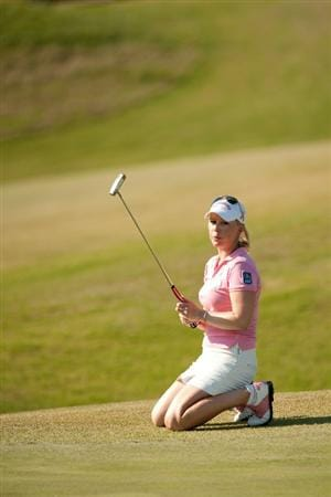 PRATTVILLE, AL - OCTOBER 8: Morgan Pressel reacts to a missed birdie putt at the 13th hole during the second round of the Navistar LPGA Classic at the Senator Course at the Robert Trent Jones Golf Trail  on October 8, 2010 in Prattville, Alabama. (Photo by Darren Carroll/Getty Images)