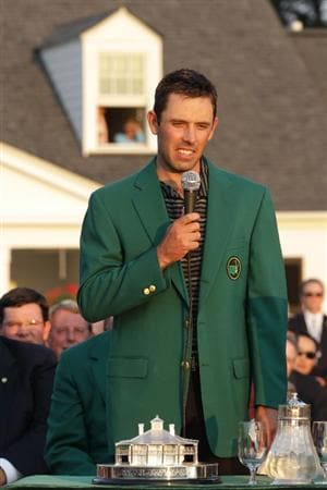 AUGUSTA, GA - APRIL 10:  Charl Schwartzel of South Africa speaks to the gallery at the green jacket presentation after his two-stroke victory at the 2011 Masters Tournament at Augusta National Golf Club on April 10, 2011 in Augusta, Georgia.  (Photo by David Cannon/Getty Images)
