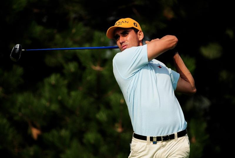 VIENNA, AUSTRIA - SEPTEMBER 19:  Rafael Cabrera-Bello of Spain tees off at the 15th during the third round of the Austrian Golf Open at Fontana Golf Club on September 19, 2009 in Vienna, Austria.  (Photo by Richard Heathcote/Getty Images)