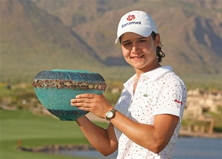 SUPERSTITION MOUNTAIN, ARIZONA - MARCH 30:  Lorena Ochoa of Mexico poses with the trophy after her seven-stroke victory at the Safeway International at Superstition Mountain Golf and Country Club March 30, 2008 in Superstition Mountain, Arizona.  (Photo by Scott Halleran/Getty Images)